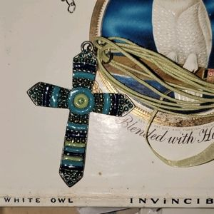 Turquoise Blue Green Metal Cross Necklace w/ gems